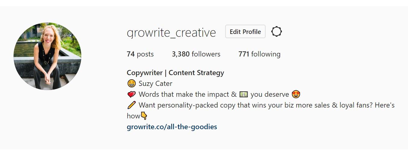 Instagram bio screenshot